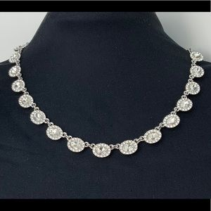 Charter Club Silver Round Clear Crystal  Necklace